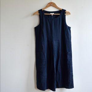 NWT J.Jill Navy Linen Pocket Tank Dress